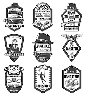 Vintage mafia emblems set with gangster classic cars revolvers gun hat skull money puppet roulette smoking pipes knuckle isolated