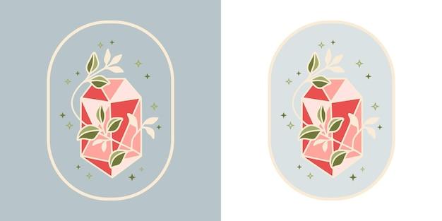 ヴィンテージの魔法のクリスタルダイヤモンド植物の葉のロゴとフェミニンな美しさのブランド要素