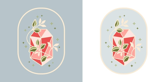 Vintage magical crystal diamond botanical leaf logo and feminine beauty brand element