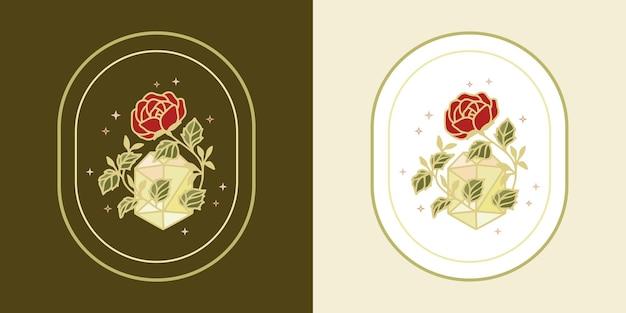 ヴィンテージマジカルクリスタルダイヤモンドボタニカルローズフラワーロゴとフェミニンな美しさのブランド要素