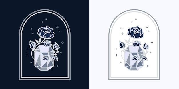 Vintage magical crystal diamond botanical rose flower logo and feminine beauty brand element