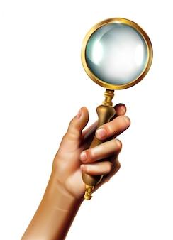 Старинное увеличительное стекло с золотыми деталями и деревянной ручкой, держащей хана. изолированная иллюстрация значка на белой предпосылке.