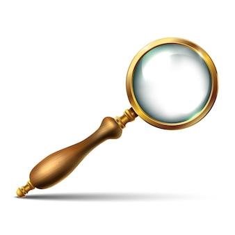 Винтажное увеличительное стекло с золотыми деталями и деревянной ручкой. изолированная иллюстрация значка на белой предпосылке.