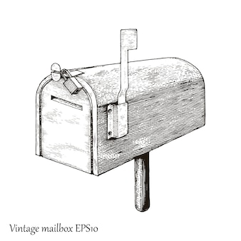 Vintage mailbox hand drawing engraving style