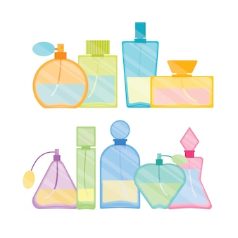 Vintage male and female perfume glass bottle color line set.