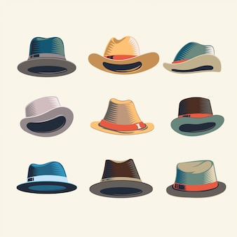 Vintage man's derby and fedora hat set
