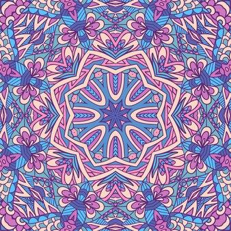 Vintage mandala art seamless pattern ethnic geometric print repeating background texture