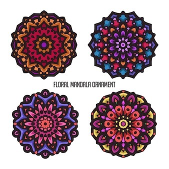 Vintage mandala art with beautiful color and circular floral ornament
