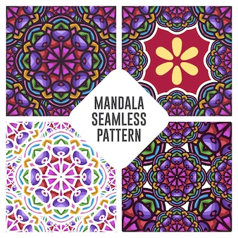 Vintage mandala seamless pattern with floral ornament with blue and orange color combination