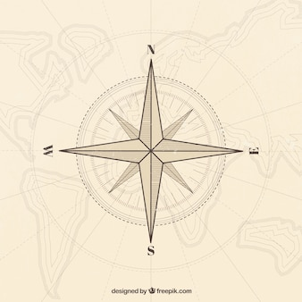 Vintage map compass background