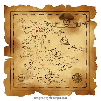 Vintage map with pirate treasure