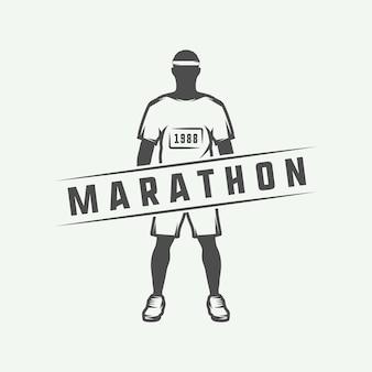 ヴィンテージマラソンまたはランのロゴ、エンブレム、バッジ、ポスター、プリントまたはラベル。ベクトルイラスト。