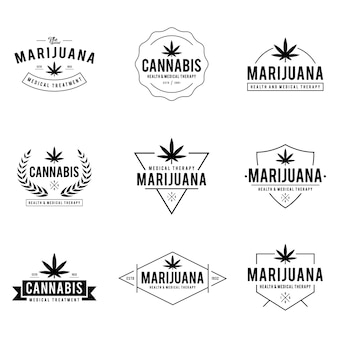 Vintage marijuana cannabis health therapy labels and badges