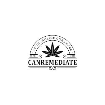 빈티지 마리화나 대마초 의료 건강 중재 로고 디자인