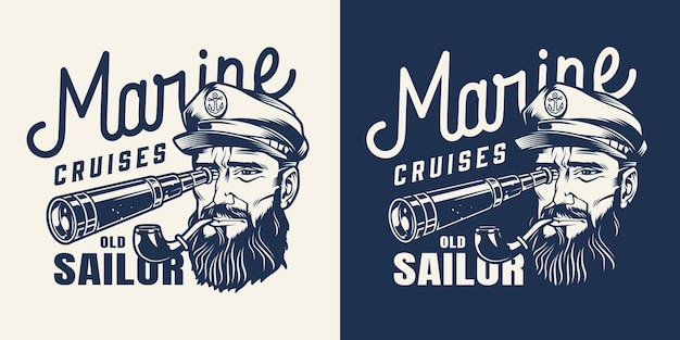 Vintage marine cruise monochrome emblem with sailor with smoking pipe looking through spyglass isolated
