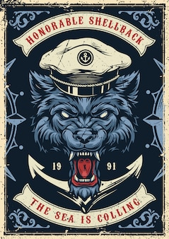 Vintage marine and nautical colorful poster