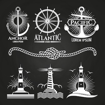 Vintage marine nautical logos and emblems with lighthouses anchors rope
