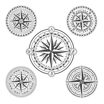 Vintage marine navigation compasses in set