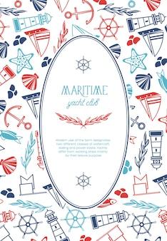 楕円形のフレームと手描きの航海要素のテキストとヴィンテージの海洋テンプレート