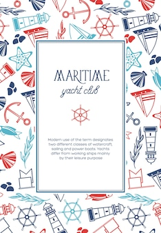 Vintage marine template with text in oval frame and hand drawn nautical elements