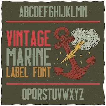 Vintage marine typeface and sample