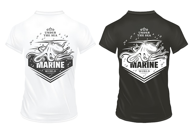 Vintage marine underwater life prints template with inscription octopus bubbles and waves on shirts isolated