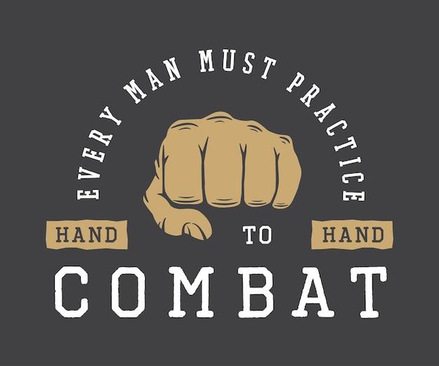 Vintage martial arts sport or fighting club logo