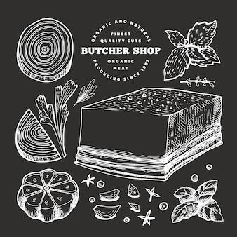 Vintage meat illustration on chalk board.