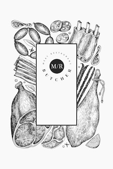 ビンテージ肉製品のデザインテンプレート。手描きのハム、ソーセージ、ハモン、スパイス、ハーブ。生の食材。レトロなイラスト。レストランのメニューに使用できます。