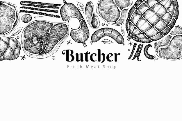 ビンテージ肉製品のデザインテンプレート。手描きのハム、ソーセージ、ハモン、スパイス、ハーブ。生の食材。レトロなイラスト。