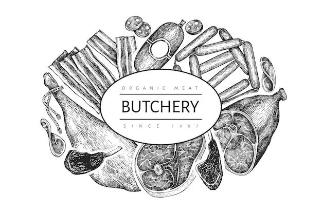 Шаблон оформления старинных мясных продуктов. ручной обращается ветчина, колбасы, хамон, специи и травы. сырые пищевые ингредиенты. винтажная иллюстрация. можно использовать для меню ресторана.
