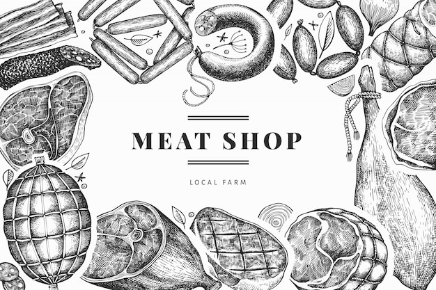 ヴィンテージの肉製品のデザインテンプレートです。手描きのハム、ソーセージ、ハモン、スパイス、ハーブ。レトロなイラスト。