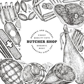 빈티지 육류 제품 디자인 템플릿입니다. 손으로 그린 햄, 소시지, jamon, 향신료 및 허브.