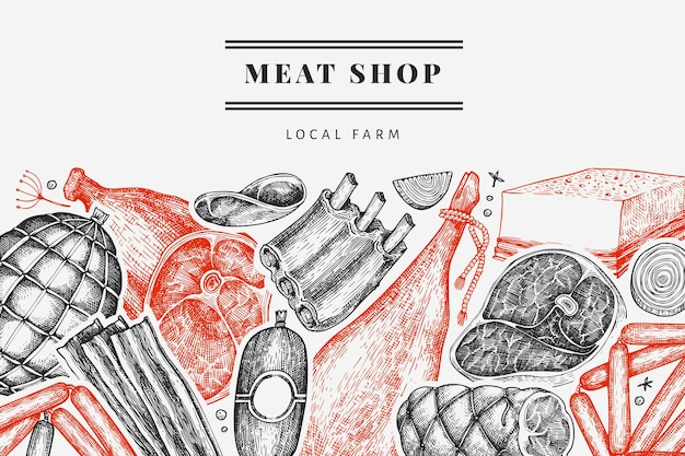 Vintage meat products design template