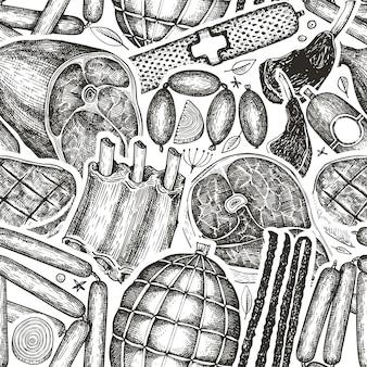 ヴィンテージ肉製品のシームレスなパターン。手描きのハム、ソーセージ、ハモン、ステーキ、スパイス、ハーブ。ローフードの材料。