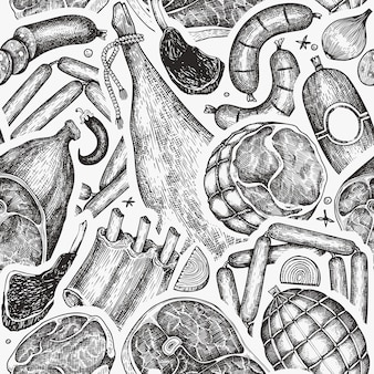 Vintage meat products seamless pattern. raw food ingredients.