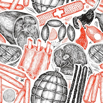 Vintage meat products seamless pattern.
