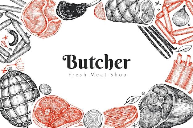 ヴィンテージ肉製品テンプレート。手描きのハム、ソーセージ、ハモン、スパイス、ハーブ。ローフードの材料。レトロなイラスト。