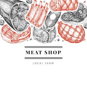 ヴィンテージ肉製品テンプレート。手描きのハム、ソーセージ、ハモン、スパイス、ハーブ。レトロなイラスト。レストランのメニューに使用できます。