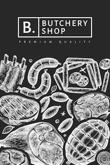 Старинные мясные продукты шаблон. ручной обращается ветчина, колбасы, хамон, специи и травы. ретро иллюстрация на доске мелом. можно использовать для меню ресторана.