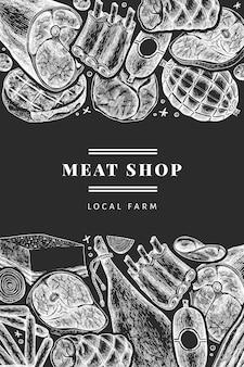 빈티지 육류 제품 템플릿입니다. 손으로 그린 햄, 소시지, 잼, 향신료와 허브. 분필 보드에 레트로 그림입니다. 식당 메뉴에 사용할 수 있습니다.