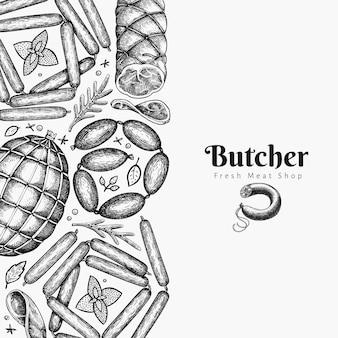 ヴィンテージ肉製品テンプレート。手描きのハム、ソーセージ、ソーセージ、スパイス、ハーブ。レトロなイラスト。