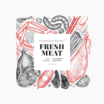 Vintage meat products template.