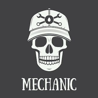 Vintage mechanic label, emblem and logo