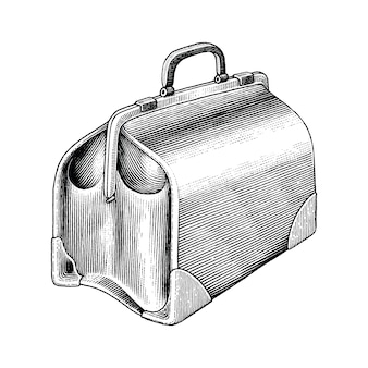 Vintage medical bag hand draw black and white clip art isolated
