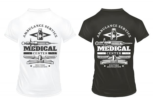 Vintage attrezzature mediche stampa modello con iscrizioni siringa bilance farmaceutiche bottiglia su camicie bianche e nere isolate