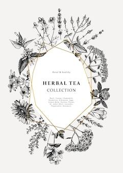 빈티지 약초 카드 또는 초대장. 손으로 그린 꽃, 잡초 및 초원 삽화. 여름 식물 템플릿. 새겨진 스타일의 꽃 요소와 식물 배경.