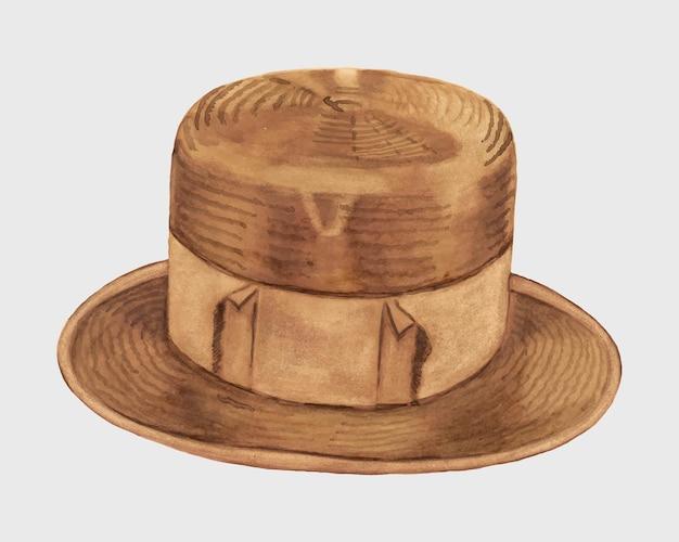 Cappello di paglia da uomo vintage vettoriale, remix dell'opera d'arte di ernest a. tower, jr.