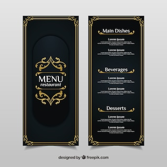 Vintage menu template with golden ornaments