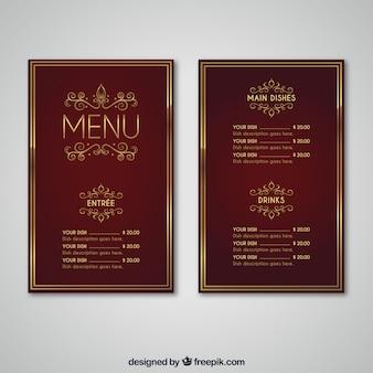 Винтажный шаблон меню с золотым стилем
